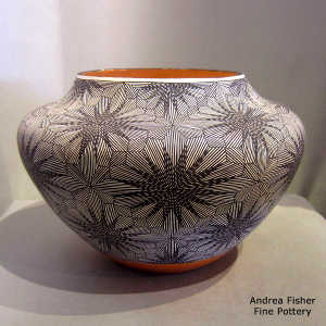 Fine line and geometric design on a polychrome jar