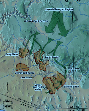 Map showing the routes of migration taken by Kayenta potters as they left the Kayenta-Tusayan area in the late 1200's