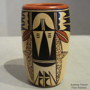 Bird element design on a polychrome yellow ware cylinder