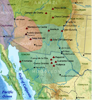 A map showing ancient cultures in the American Southwest
