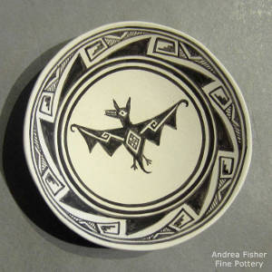 Mimbres bat and geometric designs on a black and white plate