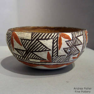 Geometric designs decorate a polychrome bowl