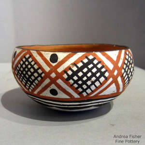 Geometric design on a polychrome bowl