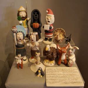 Holiday figurines in a polychrome set