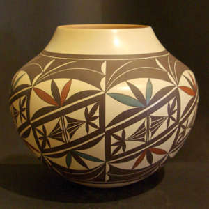 Floral and geometric design on a polychrome jar