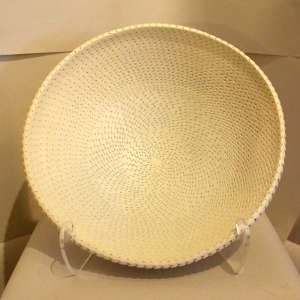Textured surface on a large white bowl