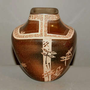 Sgraffito dragonfly and geometric design on a square brown jar