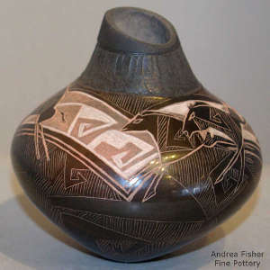 Sgraffito horse and geometric design on a two-tone jar with a carved neck