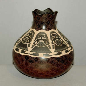 Sgraffito Women Potters and geometric design on a brown jar with an organic opening