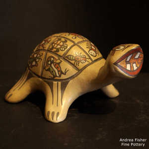 Insect designs on the shell of a polychrome turtle