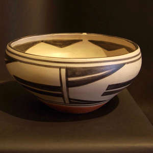 Geometric design inside and out on a polychrome bowl