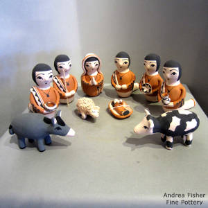 Eleven pieces in a nativity set
