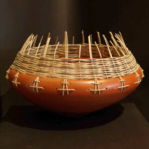 Basket weaving around the rim of a large bowl