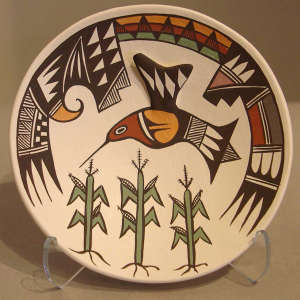Corn and Mimbres hummingbird, shard and geometric designs on a polychrome plate