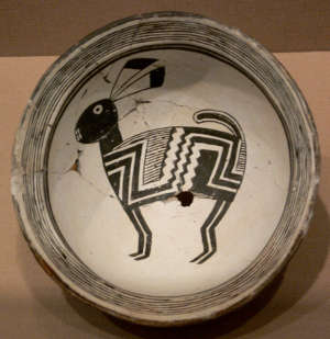 View of a typical Mimbres pottery bowl