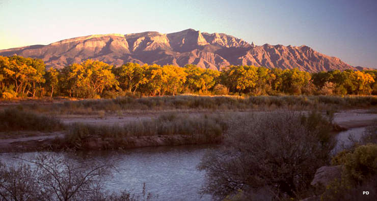 A view to the east from the Rio Grande to Sandia Mountain
