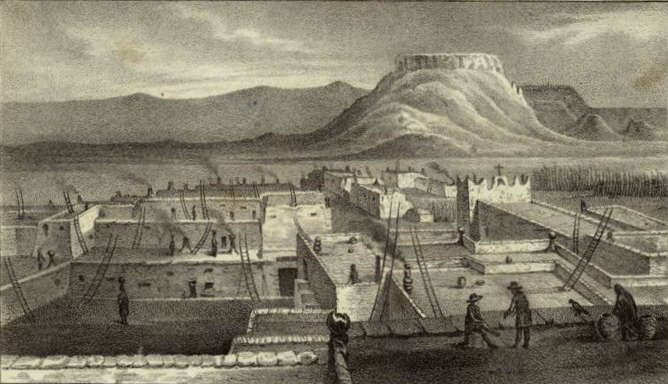 A drawing of Zuni Pueblo in 1850