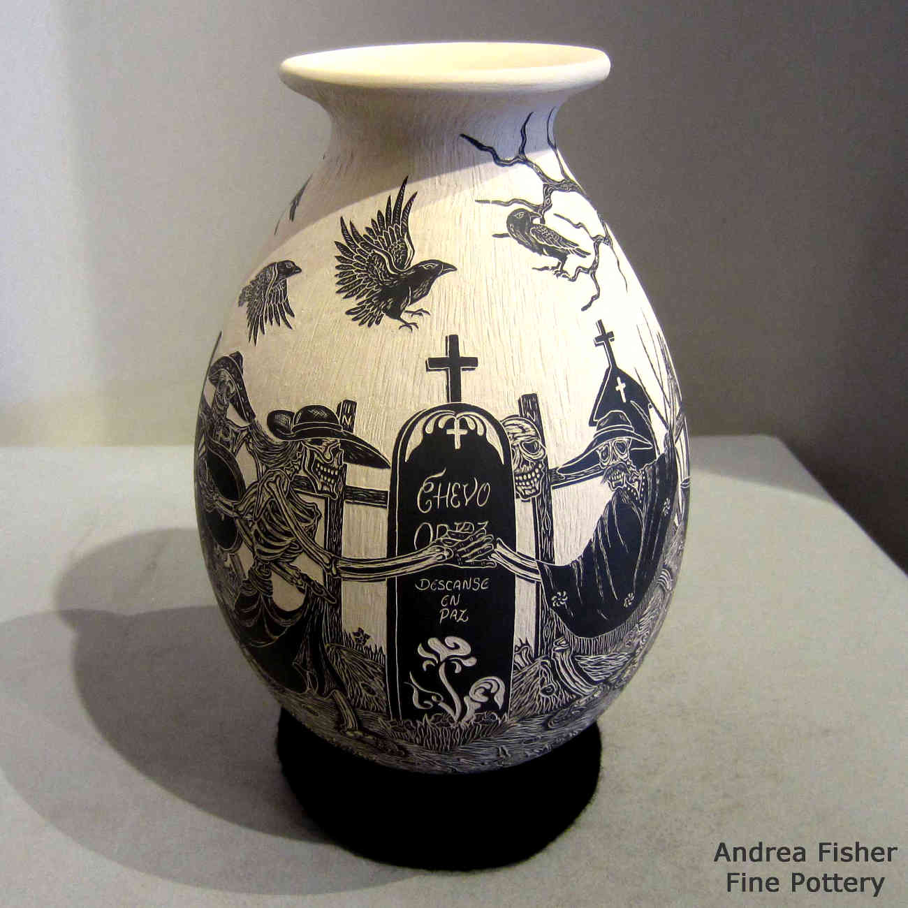 Hector javier martinez mata ortiz pottery sgraffito day of the dead motif on a black and white jar dailygadgetfo Choice Image