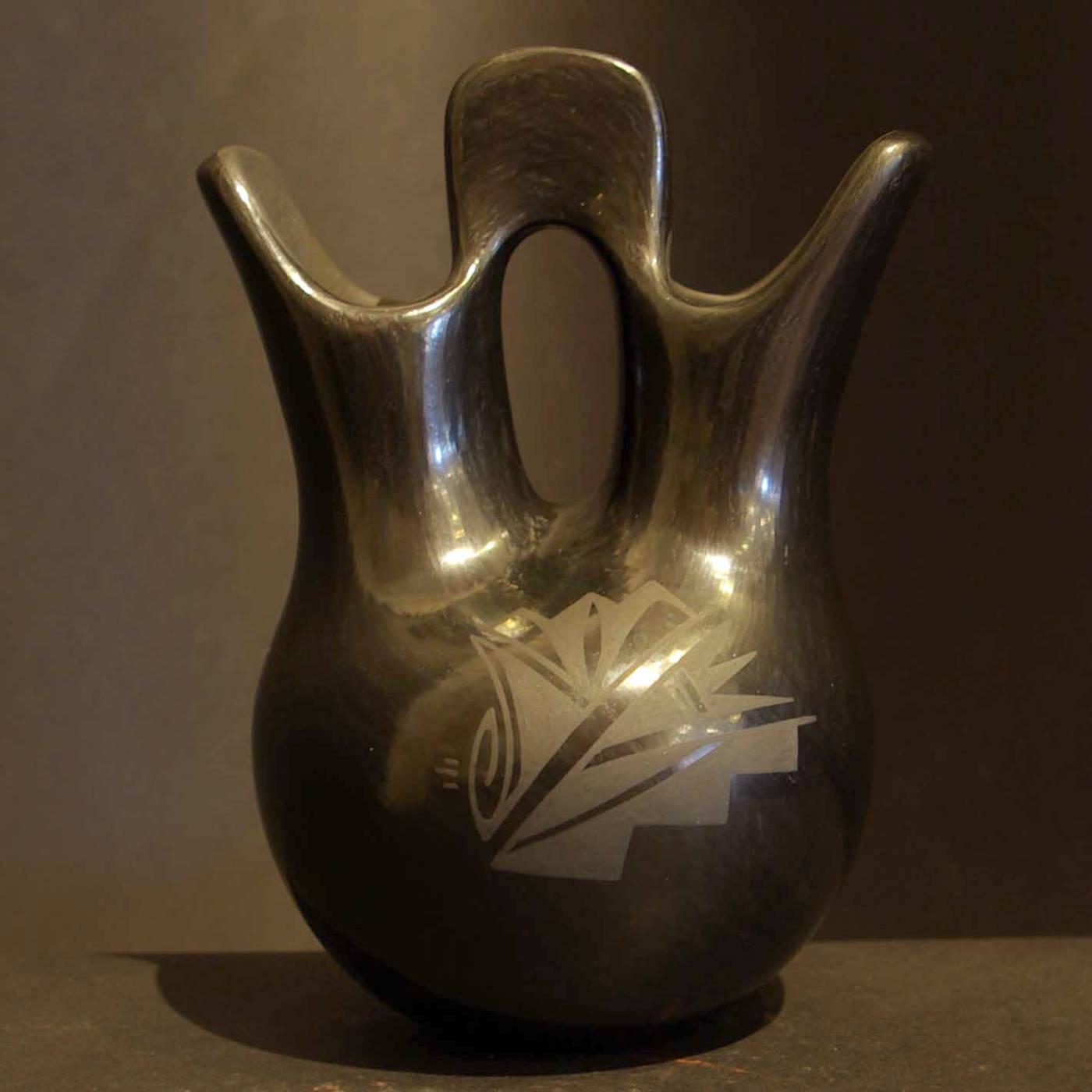 Linda askan wedding vases 1 santa clara pueblo potters geometric design decorates a black on black wedding vase reviewsmspy