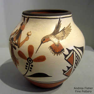 Dancer, hummingbird, flowers and geometric design on a polychrome jar